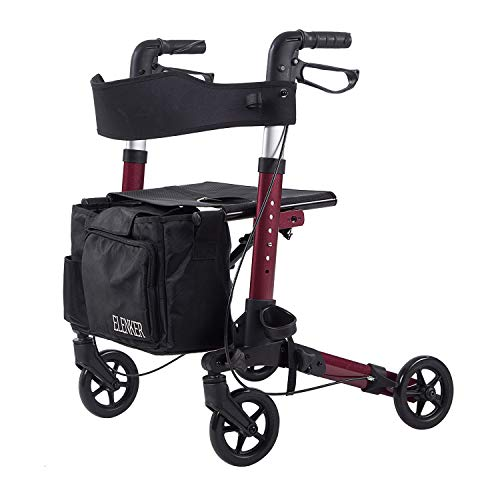 ELENKER Lightweight Rollator Walker, Foldable Compact Stable Rolling Walker with Seat, Detachable Storage Bag, Red (fits 49-510)