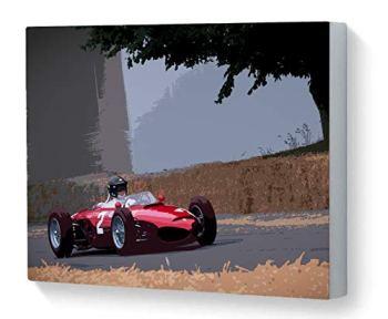 Canvas Print Wall Art Motorsport Ferrari 156 'Sharknose' Goodwood Festival of Speed 2018 Pop Art Effect