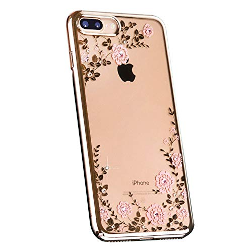 iPhone 7 Funda, iPhone 8 Funda Flor Patrón Rhinestone Swarovski Elements Parachoques Duro con Borde Suave Bumper Case para Apple iPhone 7 Plus/iPhone 8 Plus,B,iPhone7/8
