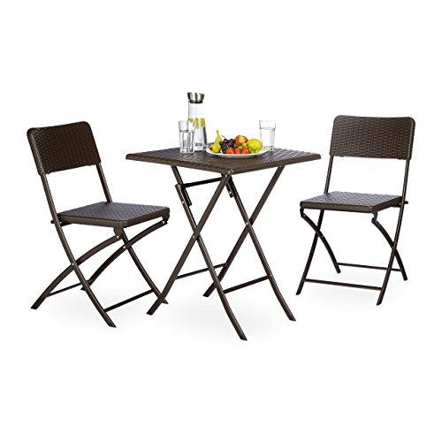 Relaxdays Set di mobili da Giardino Bastian, 3Pezzi, Gruppo di sedie Pieghevole, Quadrata Tavolo Pieghevole e 2X SEDIE da Giardino, Marrone, 61.5x 61.5x 74cm, 10020053_ 93