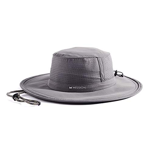 "MISSION Cooling Booney Hat- UPF 50, 3"" Wide Brim, Adjustable Fit, Mesh Design for Maximum Airflow and Cools When Wet- Charcoal"