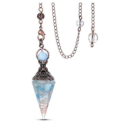 Jovivi Natural Aquamarine Healing Crystal Pendulums for...