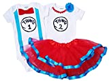 Boy Girl Twin Outfits Thing 1 and Thing 2 Tutu USA Made Outfit (09M Short Sleeve)