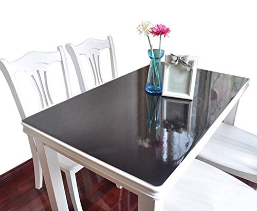 IVEGLA キッチン用品 PVC製 テーブルクロス デスクマット テーブルマット 長方形 防水 耐久 汚れ防止 厚さ1.5MM ブラック 70*120CM