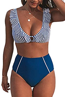 Design: Striped and Ruffled Bikini Top with Adjustable Shoulder Straps. High Waist Bikini Bottom. About Cup Style: with Padded Cups Garment Care: Regular Wash. Recommend with Cold Water. Do not Use Bleach. Do not Tumble Dry. Occasion: Best Holiday Gi...