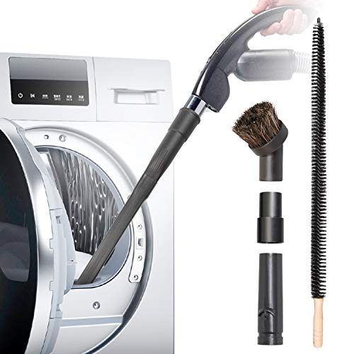 Holikme 5 Pack Dryer Cleaning Kit General Vacuum Hose Attachment Flexible and 28 inch Flexible Dryer Vent Cleaning Brush and Refrigerator Coil Brush and 2 Adapters