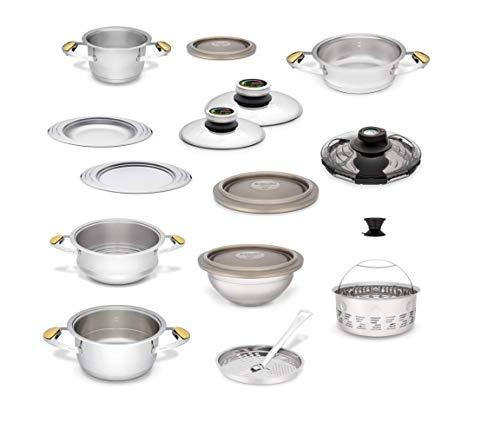 Zepter Masterpiece CookArt - Set da cucina business, 20 pezzi, cottura a vapore, cottura rapida, regolatore di temperatura, sistema di cottura a pressione per pentole Zepter