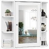 Tangkula Bathroom Medicine Cabinet with Mirror, Wall Mounted Bathroom Storage Cabinet with Mirror...