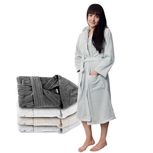 Twinzen  Kapuzen Bademantel, Baumwollfrottee für Damen 2 Taschen, Gürtel Oeko TEX Zertifiziert - Morgenmantel - Saunamantel, Weich, Saugfähig und Bequem, XL, Grau