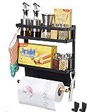 Magnetic Fridge Spice Rack Organizer Storage Holder Kitchen, Magnetic Paper Towel Holder Rack for Refrigerator Shelf Storage Hanger (Medium, Black)