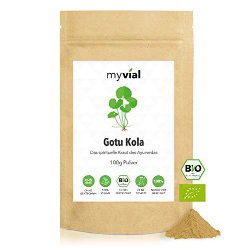 myvial® Gotu Kola Pulver Bio 100g fein gemahlen aus Indien | vegan | indischer Wassernabel - Tigergras (Centella asiatica) | ohne Zusätze, plastikfrei verpackt & laborgeprüft