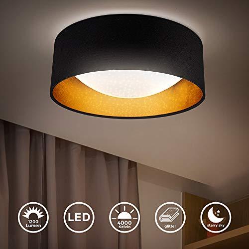 B.K.Licht Plafonnier étoile noir doré, platine LED 12W intégrée, éclairage plafond chambre, entrée, couloir, suspension tissue chambre d'enfant 1200Lm, lumière blanche neutre 4000K