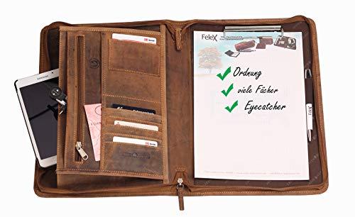 Greenburry Leder-Schreibmappe DIN A4 - Vintage Konferenzmappe mit Reißverschluss – A4 Schreibmappe aus Leder - hochwertige Vertretermappe aus Leder - 36 x 26,5 x 3 cm