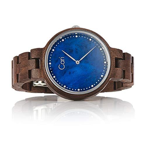 Cari Damen Frauen Holzuhr 36mm mit Schweizer Uhrwerk - Holz-Armbanduhr Kapstadt-101 (Walnussholz braun)