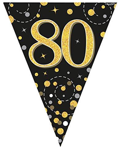 Oaktree UK Sparkling Fizz Black & Gold 80th Birthday Flag Bunting