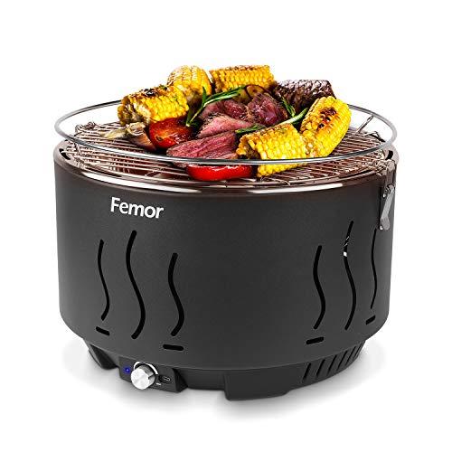 Femor Barbecue Carbone, Griglia Barbecue Carbone Senza Fumo con Ventola a Batteria/USB e Borsa...