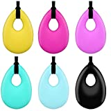 SUBANG 6 Pack Chewing Necklace Silicone Teething Necklace Pendant Kids Teething Toys for Boys Girls Adults (Oval)