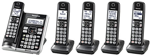 Panasonic Link2Cell Bluetooth Cordless Phone System with Voice Assistant, Call Blocking and Answering Machine. DECT 6.0 Expandable Cordless System - 5 Handsets - KX-TGF575S (Black)