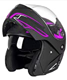 Men Women Flip Up/Modular Motorcycle Helmet, Adult Dual Visor Motorbike Helmet, Novelty Street Bike Moped Scooter Helmet, DOT Approved, Windproof and Rainproof,Purple,M