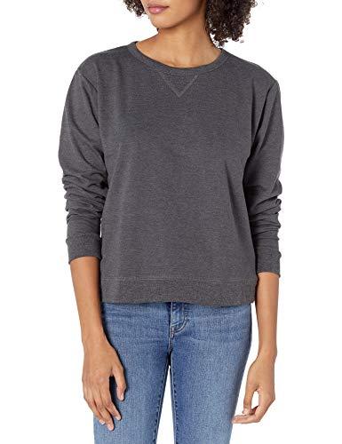 Hanes Women's V-Notch Pullover Fleece Sweatshirt, Slate Heather, Large