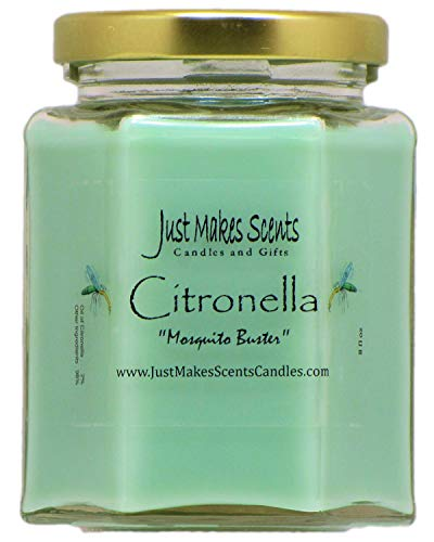 Citronella (Mosquito Repellant) Scented Blended Soy Candle for Indoor Use by Just Makes Scents (Citronella)