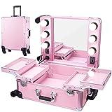 ZXCASD 2 En 1 Belleza Maquillaje Belleza Rolling Case Organizador Cosméticos con Cerradura Peluquería Caja De Almacenamiento Portátil De Viaje Trolley
