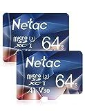 Netac Carte mémoire microSDXC, Lot de 2 64G Haute Vitesse UHS-I Carte Micro SD...