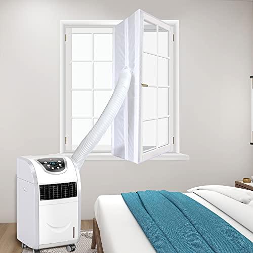 HOUT Joint de Fenêtre Climatisation 400CM   Tissu De Calfeutrage pour Fenêtres pour Climatiseur Mobile et Sèche-Linge   Fonctionne avec Toutes Les Unités de Climatisation Mobiles   Installation Facile