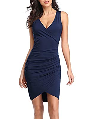 Imported Feature: above the knee length,sleeveless,deep v neck,ruched,wrap front. Occasion: suitable for daily, cocktail, party, nightclub, homecoming, wedding and holiday dress. Perfect for the upcoming season. Care: hand wash or machine wash with c...