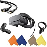 Oculus - Rift S PC-Powered VR Gaming Headset - Black - Two Touch Controller, 3D Positional Audio, Insight Tracking, Adjustable Halo Headband - BROAGE Glasses Cleaning Cloth + 6FT USB Extension Cable