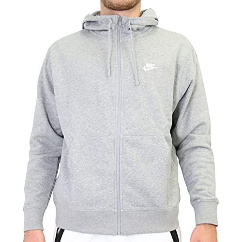 Nike Sportswear Club, Felpa con Cappuccio e Zip a Tutta Lunghezza Uomo, Dk Grey Heather/Matte Silver/White, L
