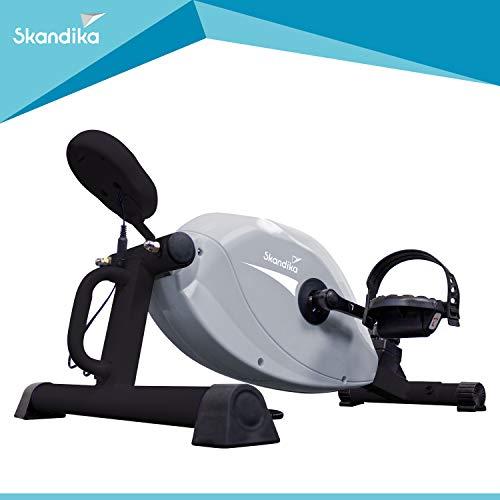skandika Liten Beintrainer Mini-Bike mit LCD Trainingscomputer, 8 Widerstandsstufen, Arm & Brust Trainer, Mini Heimtrainer, für zu Hause, Büro und Schreibtisch, 110kg Benutzergewicht (grau)
