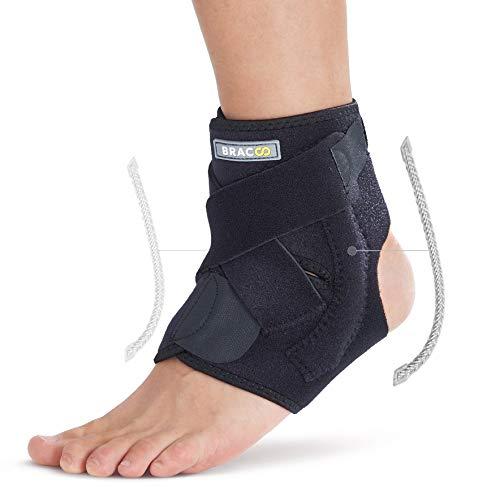 BRACOO FP30 Fußbandage mit Verstärkung - Sprunggelenkbandage - Knöchelbandage - verstellbare Fußgelenkbandage mit Klettverschluss - S/M