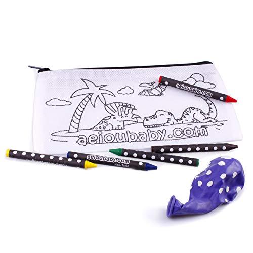 10 Astucci da Colorare | 10 Bustine singole con 5 Colori a Cera e un Palloncino | Regalo per bambini per le feste e i compleanni