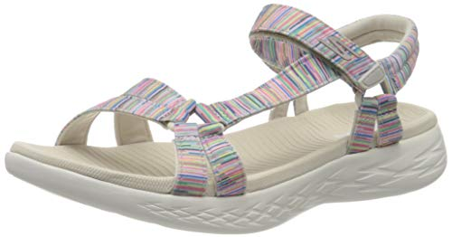 Skechers On-The-go 600, Sandalias de Punta Descubierta Mujer, Multicolor (Nat/Multi Textile Ntmt), 37 EU
