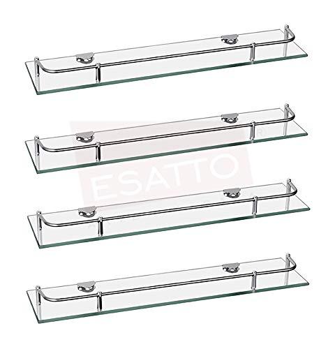 Esatto® Set Paquete de 4 repisas Rectas Cristal Vidrio para baño regadera Cocina con Soportes y Tornillos AC-027