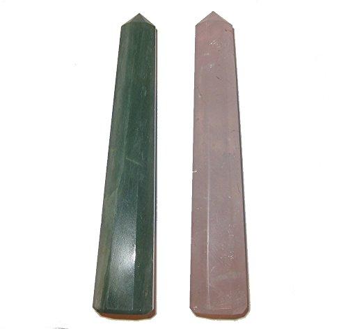 Satin Crystals Pink Rose Quartz & Green Aventurine Wands of...