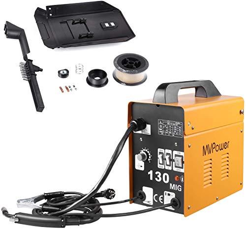 MVPower MIG130 Soldadora Inverter con Alambre, Soldador de Electrodo, Dispositivo de Soldadura Profesional (120 A 230 V)