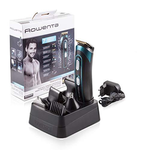 Rowenta TN9130 Trim&Style Grooming Kit 7 in 1 Uomo, Rasoio & Rifinitore Multifunzione per Viso, Barba e Corpo, Tecnologia Wet&Dry, batteria NiMH