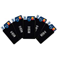 5 RFID CREDIT CARD COVER SLEEVE - Card holder for men stylish Our secure blocking credit debit card sleeves comes in a black Colour. Its smart design fits traditional size cards that slots perfectly into your pocket, wallet, or purse WHAT ARE RFID BL...