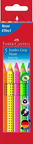 Faber-Castell 110994 - Buntstifte Jumbo Grip Neon, 5er Etui