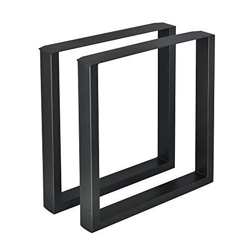 [en.casa] 2X Tischgestell 70 x 72cm Schwarz Esstischgestell Tischuntergestell Tischkufen Pulverbeschichtet Tischbein Viereckig Quadratisch