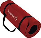 HemingWeigh Extra Thick High Density Exercise Yoga Mat with Carrying Strap for Exercise, Yoga and Pilates (Red 1/2 inch)