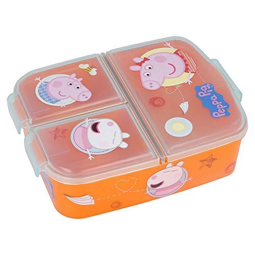 PEPPA PIG | Sandwichera con 3 compartimentos para niños - lonchera infantil - Porta merienda - Fiambrera decorada