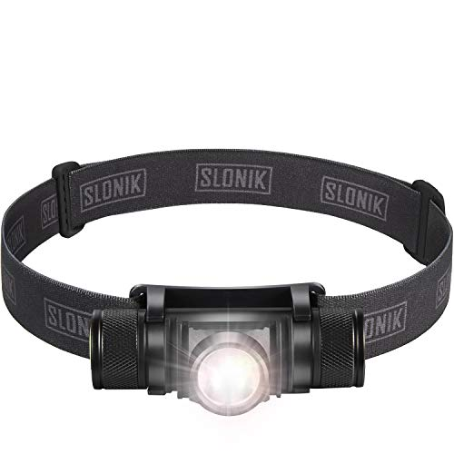 SLONIK 500 Lumen Rechargeable LED Headlamp w/ 2200 mAh Battery - Durable, Waterproof and Dustproof Headlight - Xtreme Bright 600 ft Beam - Camping and Hiking Gear