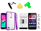for LG Premier Pro 4G LM L413DL L413DG LML414DL / Harmony 2 / K30 / Phoenix Plus Chrome TPU Cover Phone Case + Tempered Glass + Extreme Band + Stylus Pen + Pry Tool (Purple)