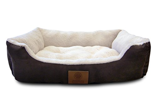 American Kennel Club AKC-6320 Brown Suede Cuddler Solid Pet Bed, Large, Brown