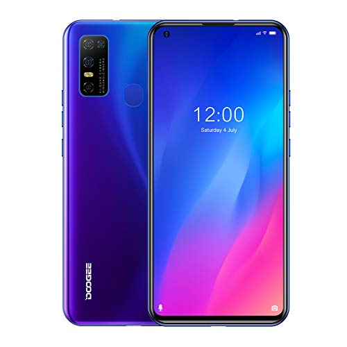 """DOOGEE N30 Unlocked Cell Phones(4GB+128GB) 6.55"""" FHD+Perforated Screen, 4500mAh High Capacity Battery Smartphone with 16MP AI Quad Camera, Android 10 and Dual 4G Volte(Dreamy Blue)"""