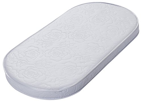 Big Oshi Baby Bassinet Mattress - 15' x 30' x 2' - Waterproof Exterior - Thick, Soft, Breathable Foam Interior - Oval Shaped, Comfy, Padded Design, Also Fits Portable Bassinets
