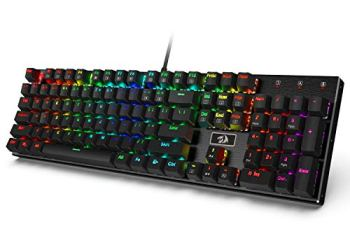 Redragon K556 RGB LED Backlit Wired Mechanical Gaming Keyboard, Aluminum Base, 104 Standard Keys